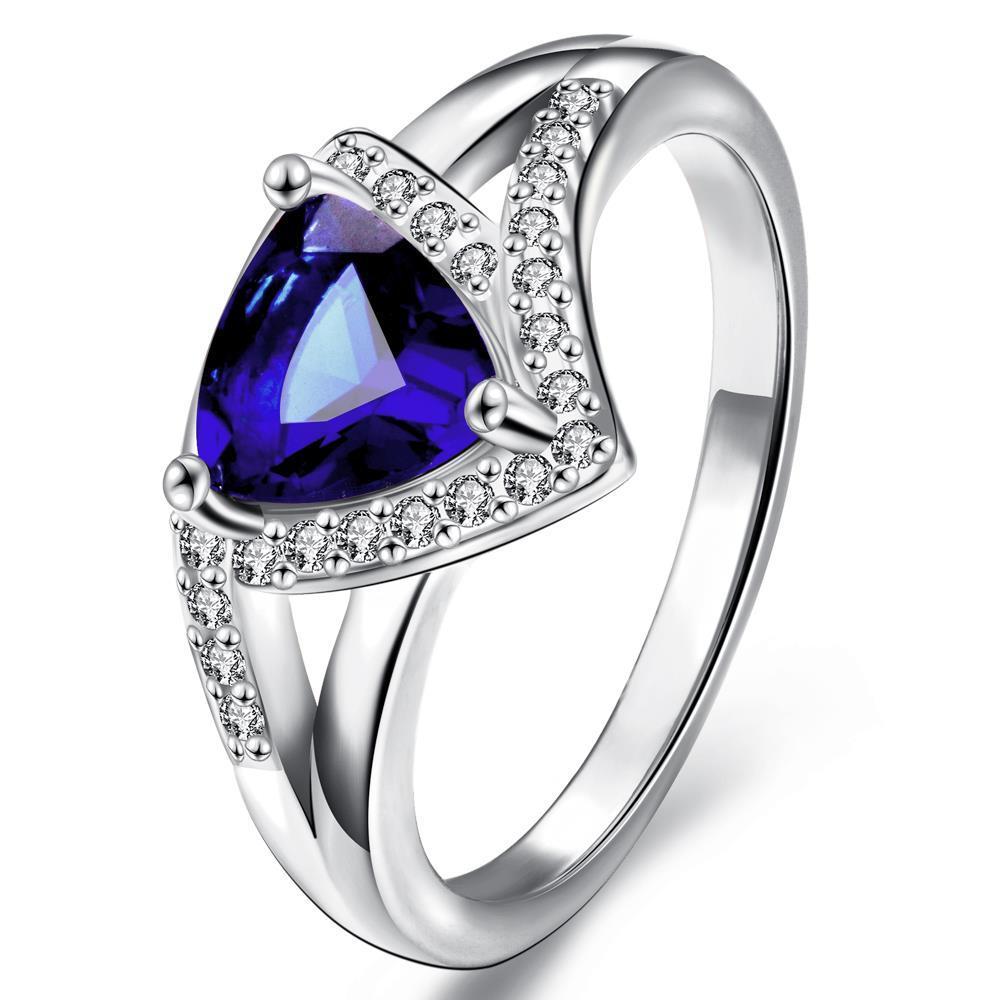 Vienna Jewelry Gold Plated Triangular Natural Gemstone Ring