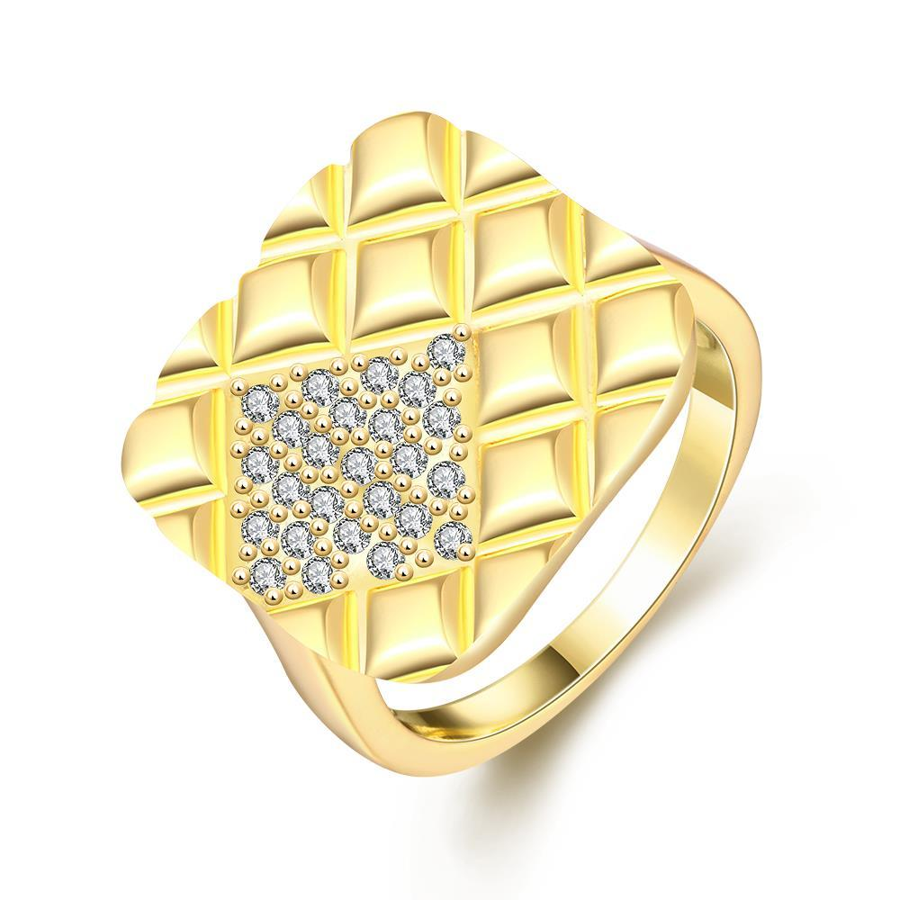Vienna Jewelry Gold Plated Square Faced Desinger Ring
