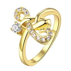 Vienna Jewelry Gold Plated Mirrored Hearts Promise Ring - Thumbnail 0