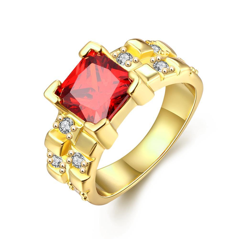 Vienna Jewelry Gold Plated Gemstone with Crystal Accents Rings