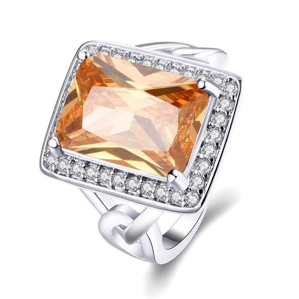 Vienna Jewelry Gold Plated Rectangle Citrine Modern Ring