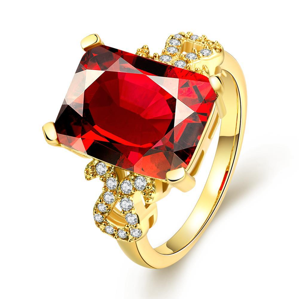 Vienna Jewelry Gold Plated Center Ruby Classic Ring