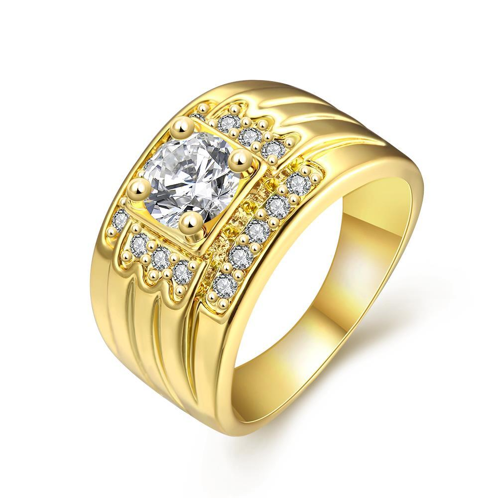 Vienna Jewelry Gold Plated Thick Cut with Crytal Jewels Accents Ring