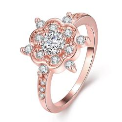 Vienna Jewelry Gold Plated Clover Snowflake with Jewels Ring - Thumbnail 0