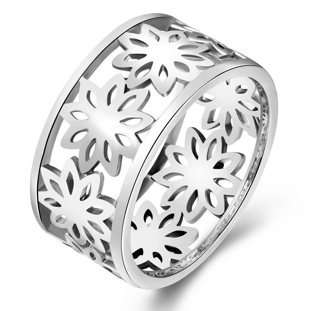 Vienna Jewelry Gold Plated Floral Inprint Laser Cut Ring