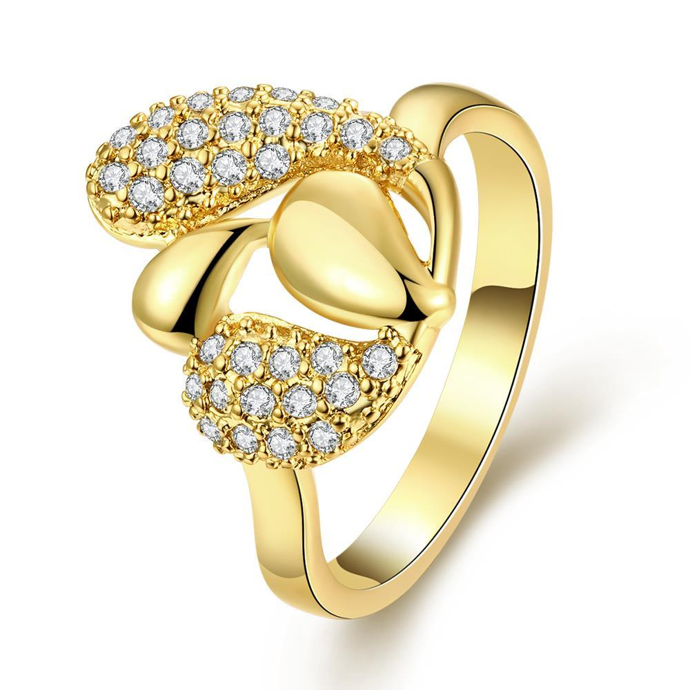 Vienna Jewelry Gold Plated Overlayering Floral Petal Ring