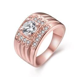 Vienna Jewelry Gold Plated Thick Cut with Crytal Jewels Accents Ring - Thumbnail 0