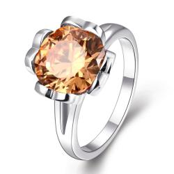 Vienna Jewelry Gold Plated Citrine Clover Inspired Ring - Thumbnail 0