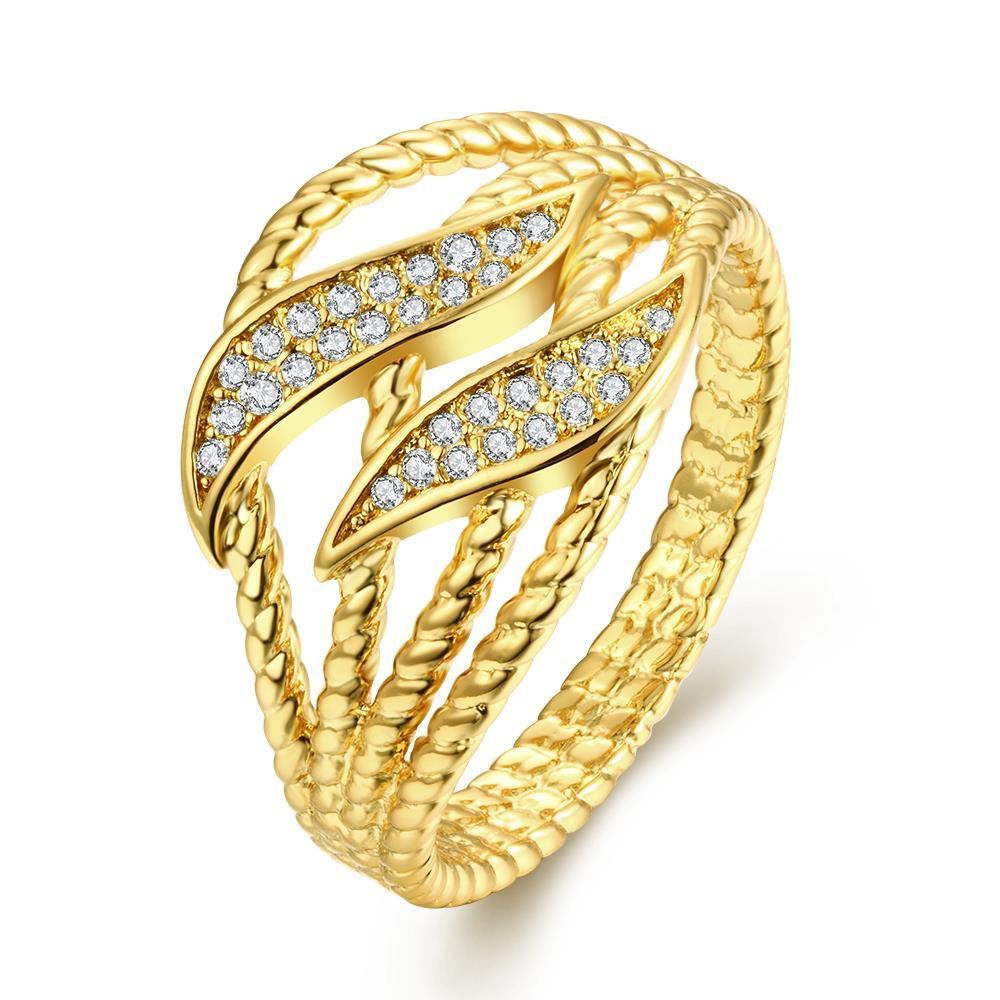 Vienna Jewelry Gold Plated Double Layering Inprints Ring