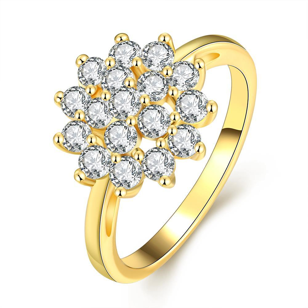 Vienna Jewelry Gold Plated Snowflake Full of Jewels Ring
