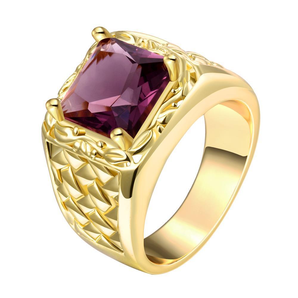 Vienna Jewelry Gold Plated Brick Stone Design Ring