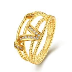Vienna Jewelry Gold Plated French Inspired Twist Ring - Thumbnail 0