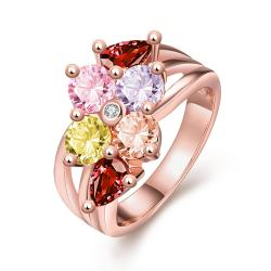 Vienna Jewelry Gold Plated Candy Colored Ring - Thumbnail 0