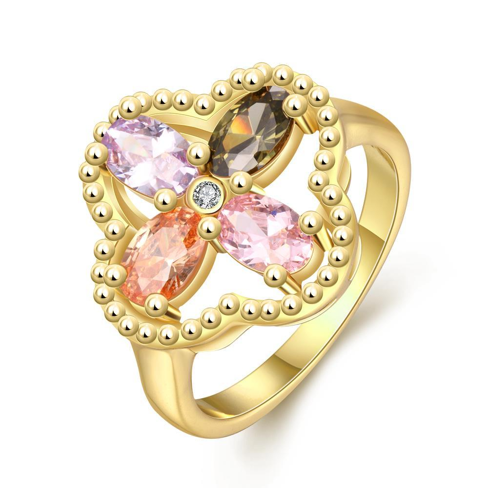 Vienna Jewelry Gold Plated Clover Colored Jewels Ring