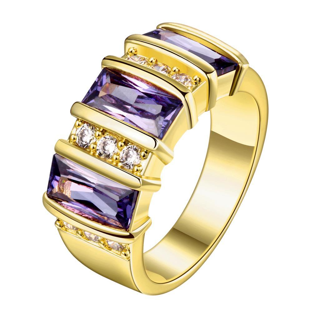 Vienna Jewelry Gold Plated Purple Gemstone Classical Ring