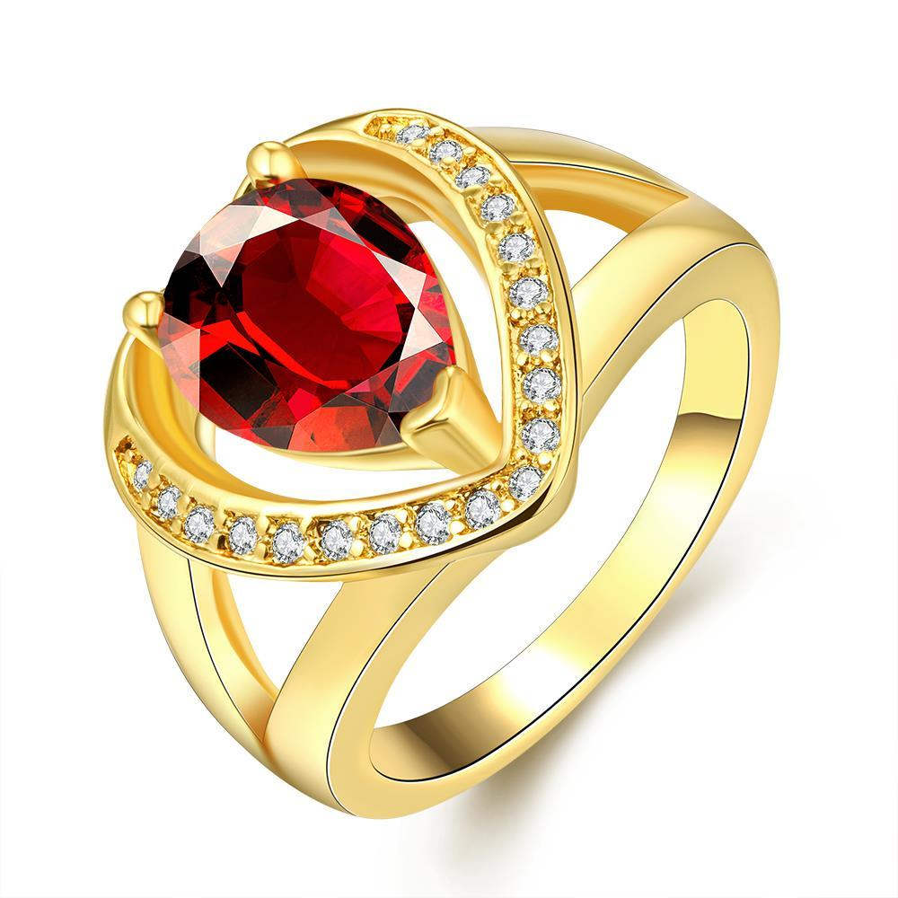 Vienna Jewelry Gold Plated Open-Love with Gemstone Ring
