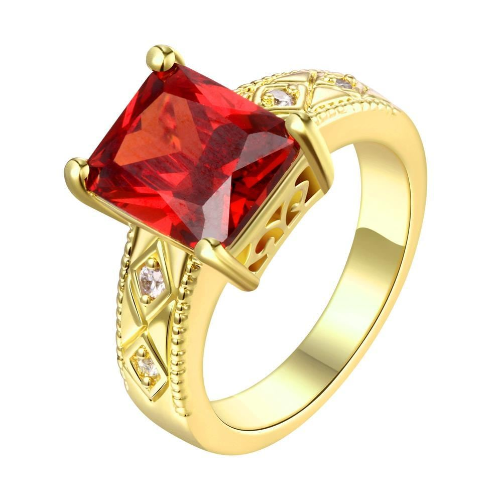 Vienna Jewelry Gold Plated Classical Cube Ruby Ring