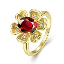 Vienna Jewelry Gold Plated Clover Inspired Gemstone Ring - Thumbnail 0