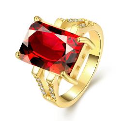 Vienna Jewelry Gold Plated Classical Gemstone Cut Ring - Thumbnail 0