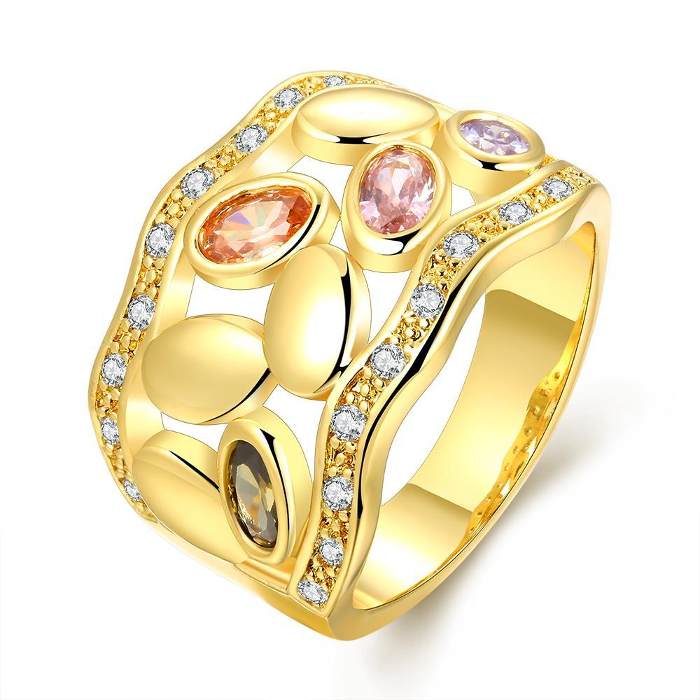 Vienna Jewelry Gold Plated Full of Colored Jewels Ring