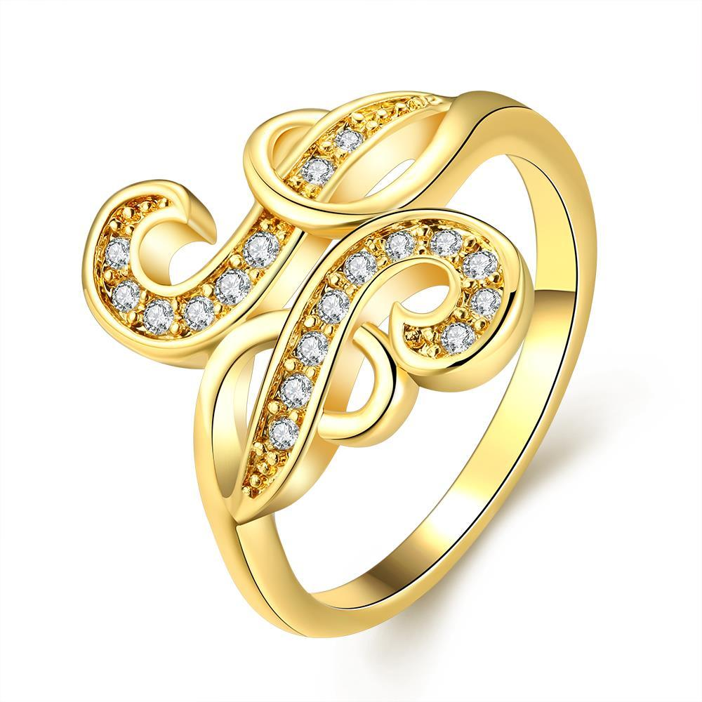 Vienna Jewelry Gold Plated Trip Curved Designer Inspired Ring