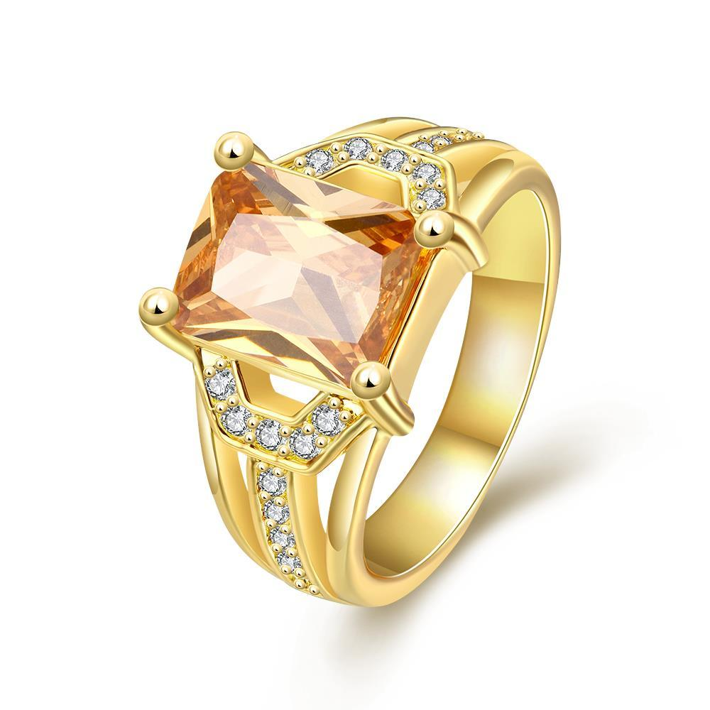Vienna Jewelry Gold Plated Center Citrine Gem Ring