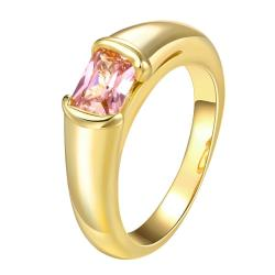 Vienna Jewelry Gold Plated Clean Classic Cut Crystal Ring - Thumbnail 0