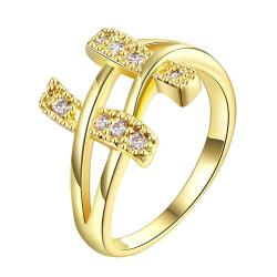 Vienna Jewelry Gold Plated Double Bars Jewels Ring - Thumbnail 0