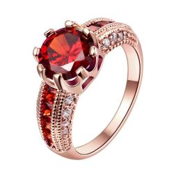 Vienna Jewelry Gold Plated Ruby Cluster Classical Ring - Thumbnail 0
