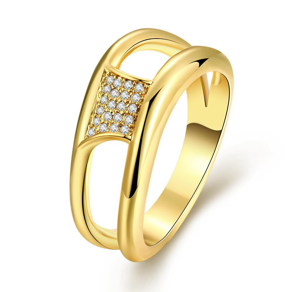 Vienna Jewelry Gold Plated Hollow Crystal Ring