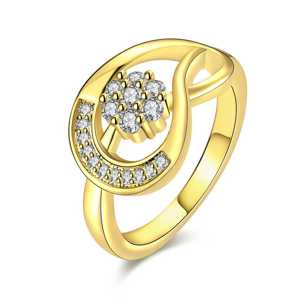 Vienna Jewelry Gold Plated Twisted Horse-Shoe Ring