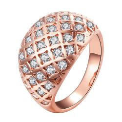 Vienna Jewelry Gold Plated Double Frame Crystal Insert Ring - Thumbnail 0