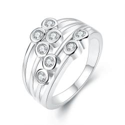 Vienna Jewelry White Gold Plated Eight Crystal Jewels Line Ring - Thumbnail 0