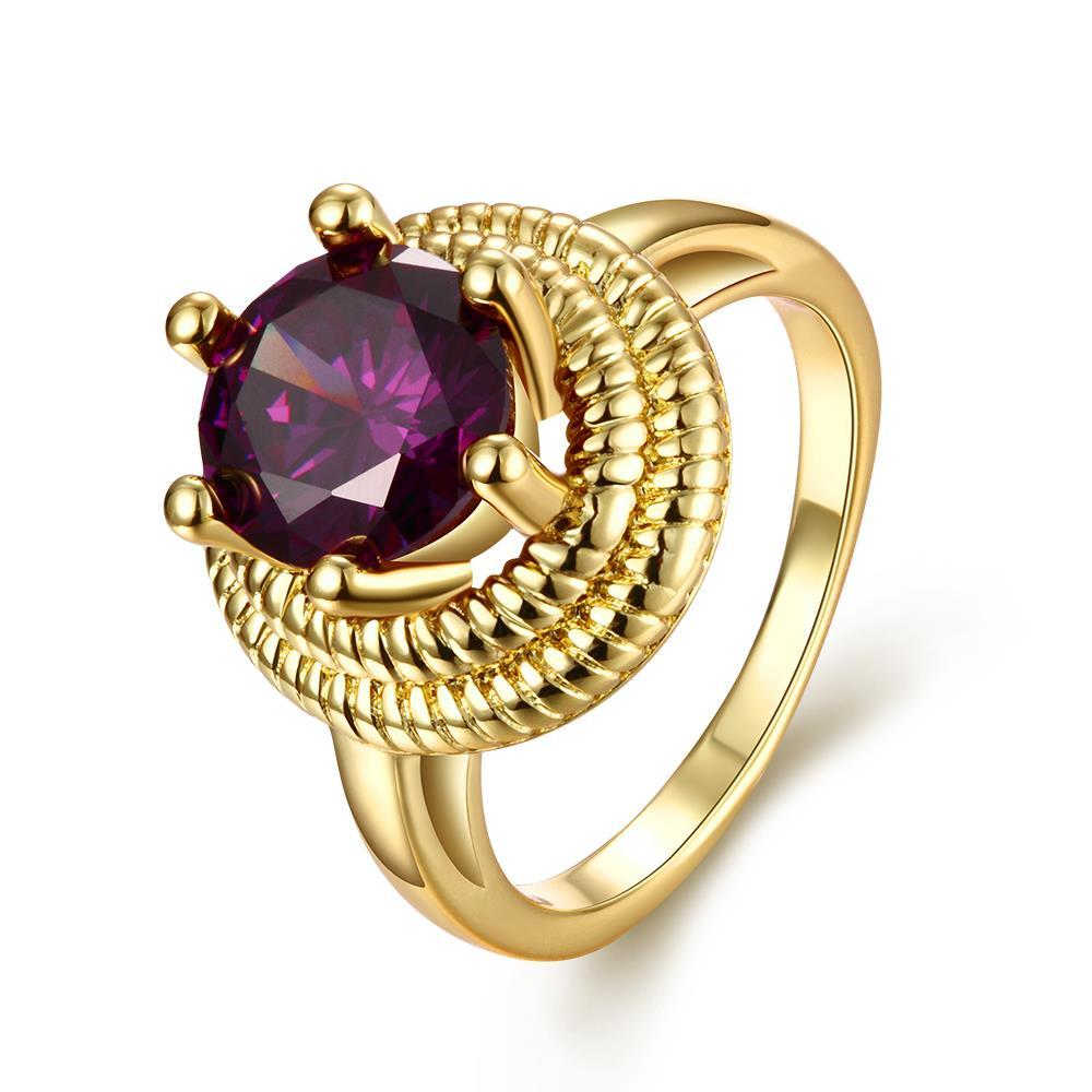 Vienna Jewelry Gold Plated Thick Cut Purple Citrine Gem Ring