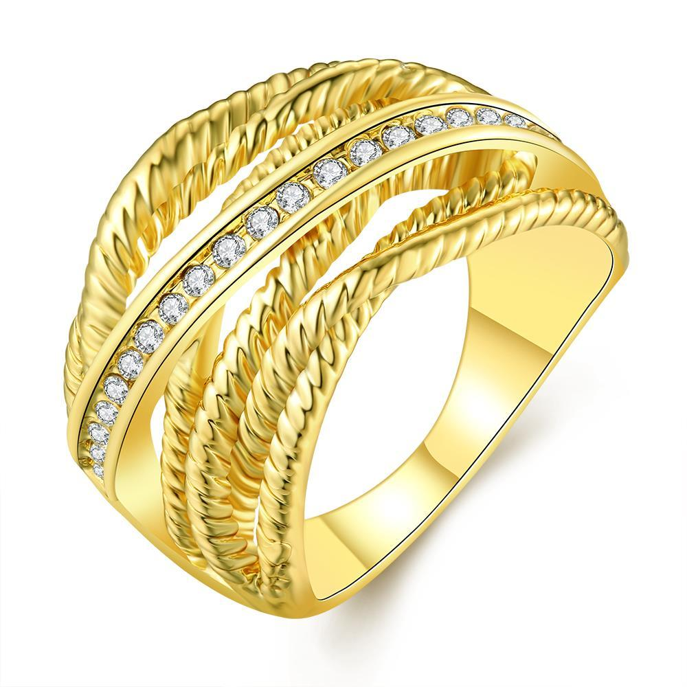 Vienna Jewelry Gold Plated Twisted Lining with Silver Lining Ring Size 8