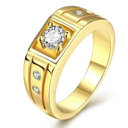 Vienna Jewelry Gold Plated Center Crystal Stone Ring - Thumbnail 0