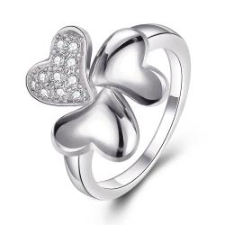 Vienna Jewelry White Gold Plated Petite Clover Stud Ring Size 8 - Thumbnail 0