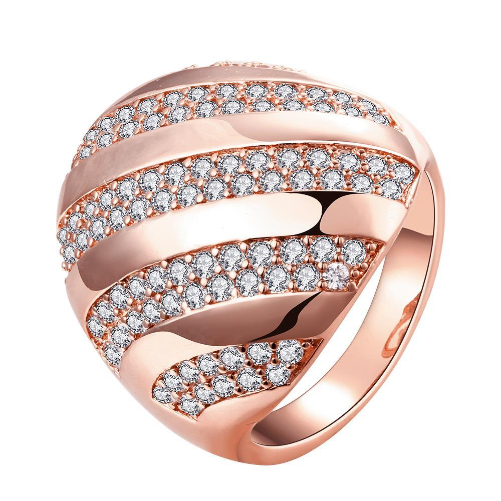 Vienna Jewelry Gold Plated Swirl Line Crystals Ring