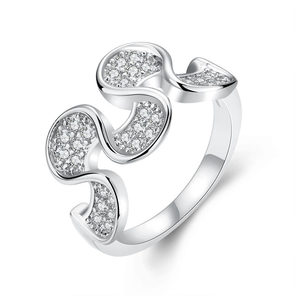 Vienna Jewelry White Gold Plated Harp Shaped Ring