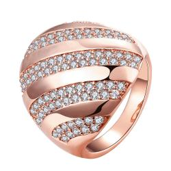 Vienna Jewelry Gold Plated Swirl Line Crystals Ring - Thumbnail 0