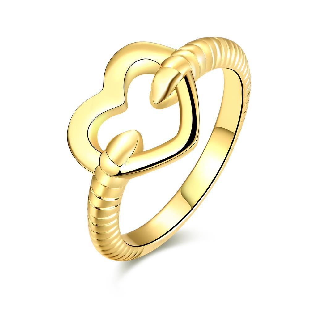 Vienna Jewelry Gold Plated Mini Hollow Heart Ring