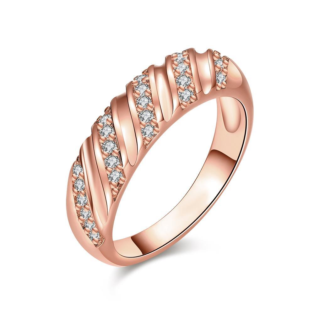 Vienna Jewelry Rose Gold Plated Angular Curved Ring