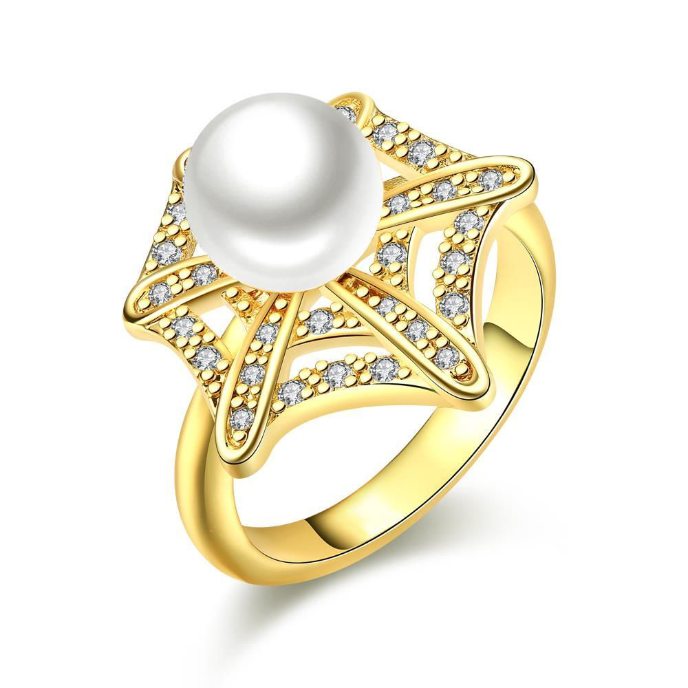 Vienna Jewelry Gold Plated Pearl Infusion Ring