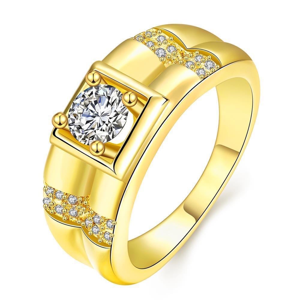 Vienna Jewelry Gold Plated Crystal Frame Ring