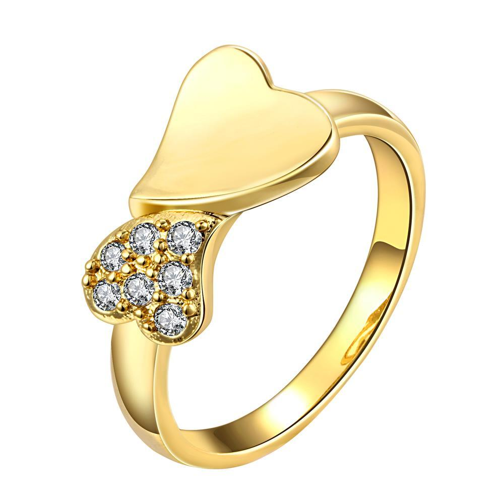 Vienna Jewelry Gold Plated Split Heart Ring