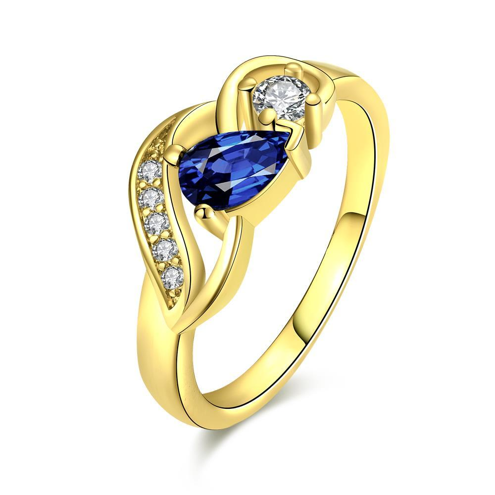 Vienna Jewelry Gold Plated Petite Saphire Gem Ring - Thumbnail 0