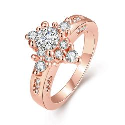 Vienna Jewelry Gold Plated Classic Diamond Design Ring - Thumbnail 0