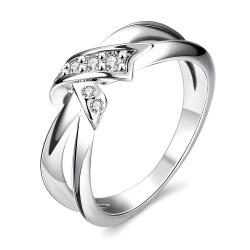 Vienna Jewelry White Gold Plated Bow-Tie Ring - Thumbnail 0