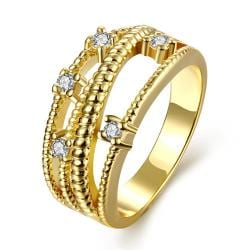 Vienna Jewelry Gold Plated Doubled Layered Classic Ring - Thumbnail 0