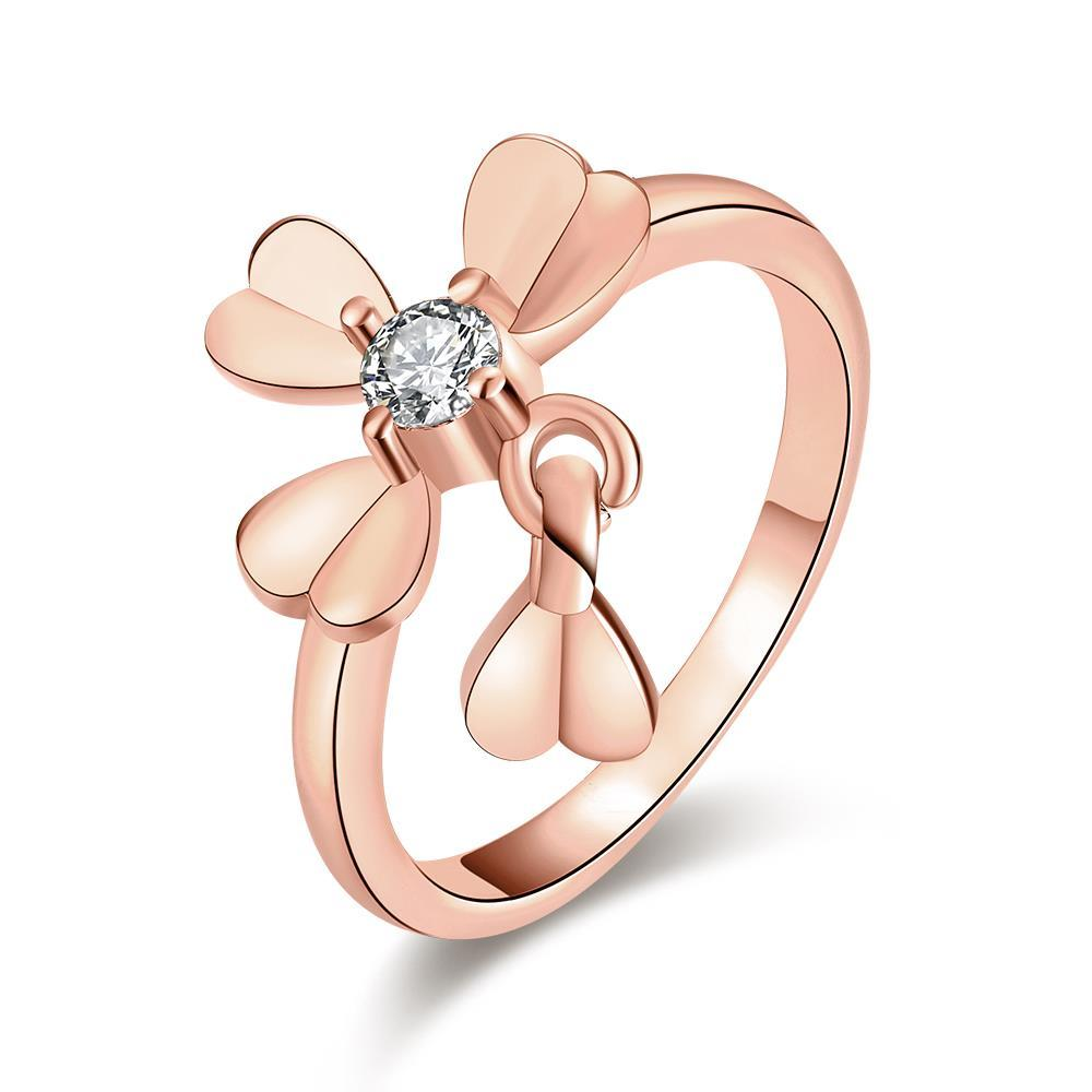 Vienna Jewelry Rose Gold Plated Petite Clover Ring
